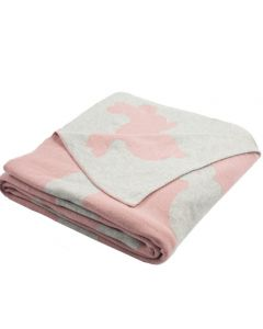Pink Bunny Themed Knit Baby Blanket