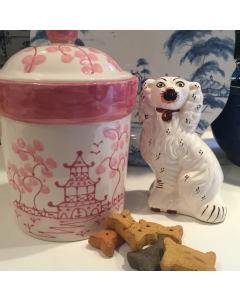 Hand Painted Pink Chinoiserie Dog Treat Canister