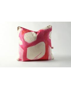 Pink & Orange Abstract Brushstroke Art Natural Linen Atelier Pillow