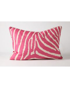 Pink Zebra Natural Linen Lumbar Pillow
