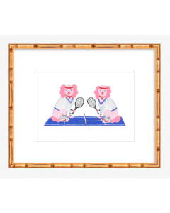 Pink and Blue Tennis Dogs 8x10 Art Print