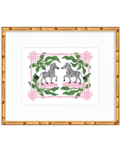 Pink and Green Bamboo Zebra 11x14 Art Print