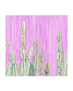 Pink and Green Cactus Canvas Wall Art in White or Maple Float Frame - Available in 2 Sizes