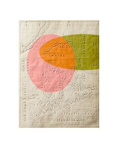 Pink and Green Modern Geometric Graphic Map Archival Digital Print Framed Wall Art