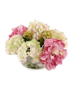 Pink and White Hydrangea Bouquet in Glass Cylinder