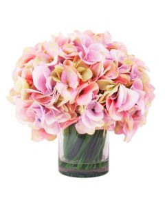Pink and Yellow Hydrangeas in a Glass Container