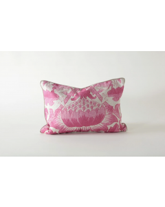 Pink Botanical Pattern Watermark Natural Linen Small Pillow