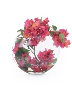 Pink Bougainvillea with Faux Water in a Clear Vase