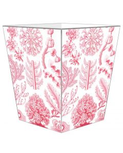 Pink Coral Decoupage Wastebasket with Optional Tissue Box