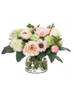Pink Cream Rose Peony Floral Arrangement in Glass Cylinder