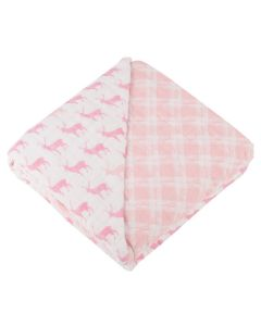 Pink Deer and Primrose Pink Plaid Bamboo Muslin Baby Blanket