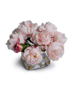 Pink Faux Peony Bouquet in Glass Cube