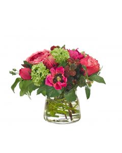 Faux Pink & Green Rose Snowball Arranged in Glass Pyramid