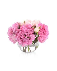 Pink Hydrangeas and Peonies in Classic Rose Bowl with Faux Water - LOW STOCK