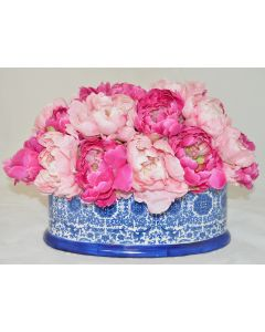Pink Peonies Faux Floral Arrangement in a Blue and White Delft Footbath