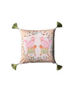 Pink and Orange Foo Dog Throw Pillow With Silk Tassels