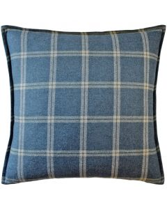 Merino Wool Plaid Decorative Throw Pillow in Indigo