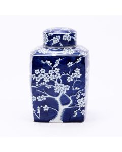Blue and White Square Tea Jar With Plum Motif