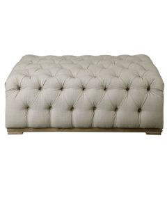 Plush Diamond Tufted Ottoman in Antique White Linen