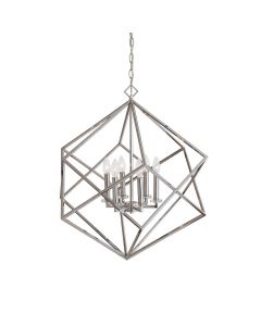 Polished Nickel Interlocking Cubes 6 Light Chandelier