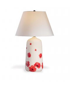 Poppy Large White and Red Floral Porcelain Table Lamp