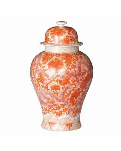 Porcelain Orange Temple Jar with Dragon & Floral Motif
