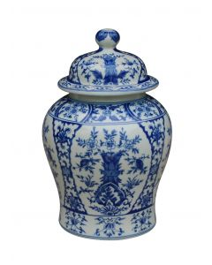 Porcelain Blue & White Chinoiserie Temple Jar