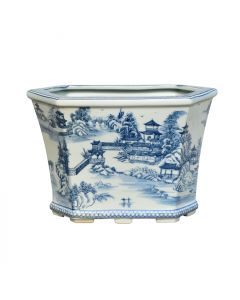 Porcelain Blue & White Chinoiserie Toile Cachepot