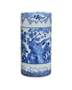 Porcelain Blue & White Chinoiserie Umbrella Stand
