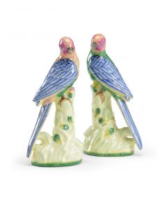 Pair of Decorative Porcelain Parakeets