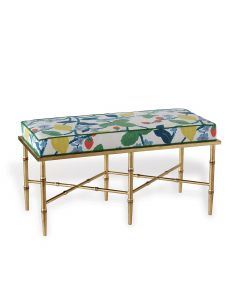 Gold Summer Floral Double Upholstered Bench