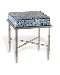 Silver Single Bamboo Bench With Indigo Upholstered Cushion