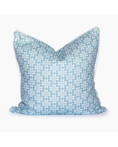 Powder Blue and White Dogwood Floral Linen Square Throw Pillow