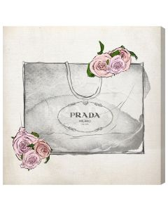 Prada Shopping Bag With Roses Canvas Print Fashion Wall Art - Variety of Sizes Available