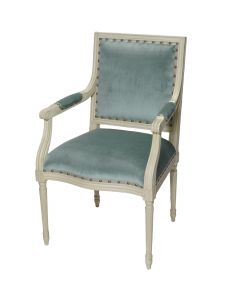 Prytania French Arm Chair with Velvet Upholstery