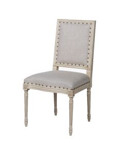 Prytania French Side Chair with Linen Upholstery - Set of Two