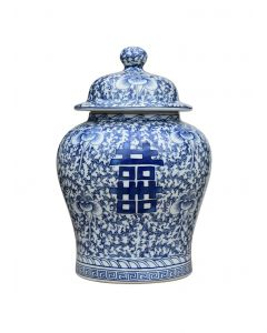 Blue and White Porcelain Happiness Calligraphy Temple Jar