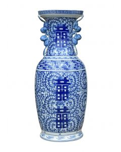 Blue and White Porcelain Happiness Calligraphy Vase