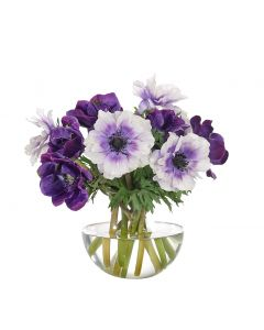 Purple Lavender Faux Anemone in Glass Bubble Container