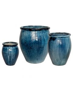 Quin Blue Garden Planters with Lip-Available in Three Different Sizes