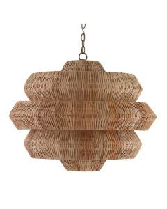 Geometric Woven Rattan Chandelier in Khaki Finish
