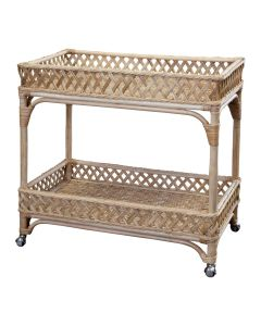 Rattan Trellis Wheeled Bar Cart, Available in a Variety of Colors - PREORDER JANUARY 2022