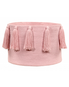 Washable Pink Tassel Braided Storage Basket