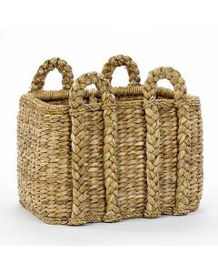 Rectangular Rush Rattan Storage Basket