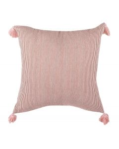 Red and White Striped Pillow with Tassels