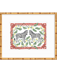 Red Floral Zebra 11x14 Art Print