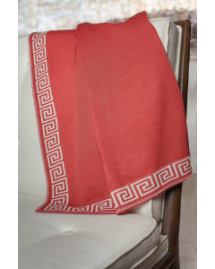 Red Jersey Knit Throw with Greek Key Jacquard Border