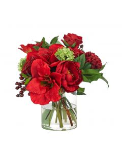 Red and Green Amaryllis Hydrangea Holiday Centerpiece Floral Arrangement