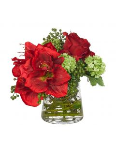Red and Green Amaryllis Hydrangea Rose Holiday Centerpiece Floral Arrangement in a Glass Pyramid