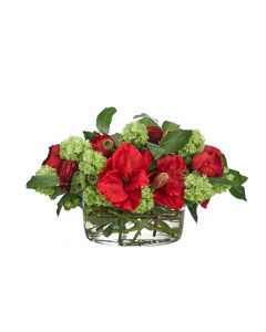 Red & Green Peony, Amaryllis, Snowball, & Hydrangea Faux Arrangement in Glass Bowl